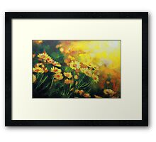 Daisies in the Sun landscape Flower painting by Samuel Durkin Framed Print