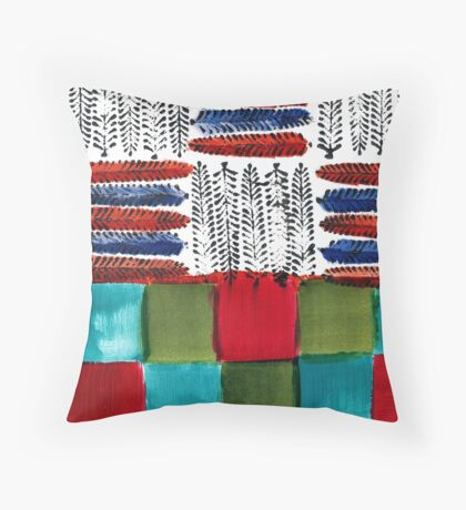 Indian Feather Leaves in Color Blocks Throw Pillow