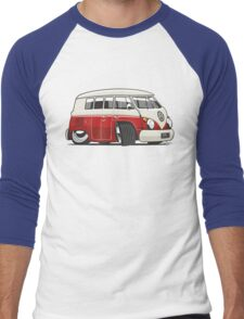 VW T1 Microbus cartoon red Men's Baseball ¾ T-Shirt