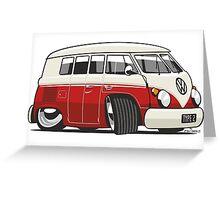 VW T1 Microbus cartoon red Greeting Card