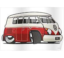 VW T1 Microbus cartoon red Poster