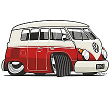VW T1 Microbus cartoon red Photographic Print