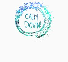 Calm Down (in blue swirl) Unisex T-Shirt