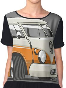 VW T1 Microbus cartoon orange Chiffon Top
