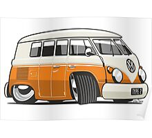 VW T1 Microbus cartoon orange Poster