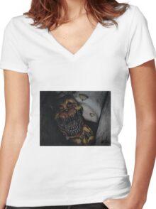 FNaF Nightmare Fredbear Women's Fitted V-Neck T-Shirt