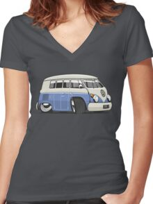 VW T1 Microbus cartoon blue Women's Fitted V-Neck T-Shirt