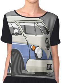 VW T1 Microbus cartoon blue Chiffon Top