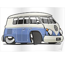VW T1 Microbus cartoon blue Poster
