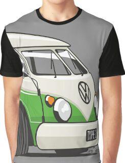 VW T1 Microbus cartoon bright green Graphic T-Shirt