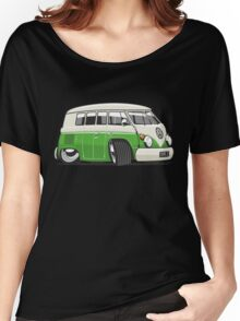 VW T1 Microbus cartoon bright green Women's Relaxed Fit T-Shirt