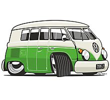 VW T1 Microbus cartoon bright green Photographic Print