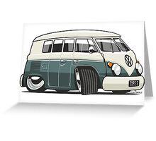 VW T1 Microbus cartoon green Greeting Card