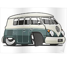 VW T1 Microbus cartoon green Poster