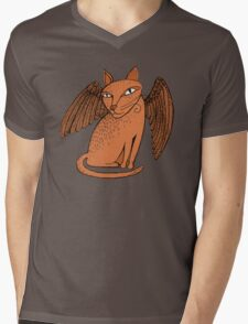 Winged cat Mens V-Neck T-Shirt