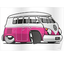VW T1 Microbus cartoon pink Poster