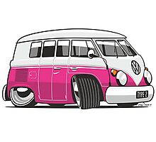 VW T1 Microbus cartoon pink Photographic Print