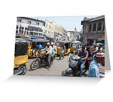 Traffic at Charminar Monument Greeting Card