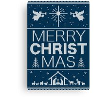 Ugly Christmas Sweater - Blue - Merry Christ Mas - Religious Christian - Jesus Canvas Print
