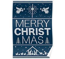 Ugly Christmas Sweater - Blue - Merry Christ Mas - Religious Christian - Jesus Poster