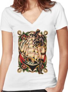 Sexy Pirate Girl Women's Fitted V-Neck T-Shirt