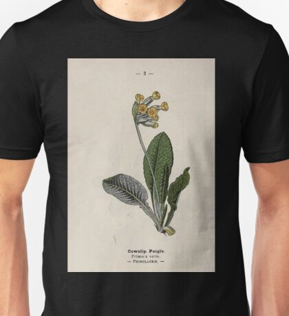 Wayside and woodland blossoms a pocket guide to British wild flowers for the country rambler  by Edward Step 1895 002 Cowslip Paigle Unisex T-Shirt