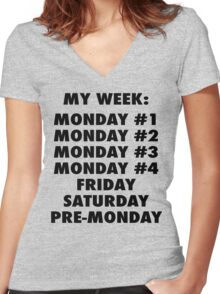 Everyday Is Monday Women's Fitted V-Neck T-Shirt