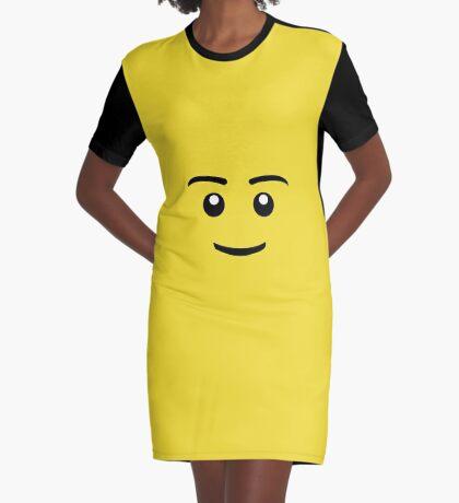 Brick Man Smiley Face Graphic T-Shirt Dress