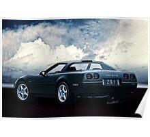94 Corvette ZR-1 Three-Quarter Back Poster