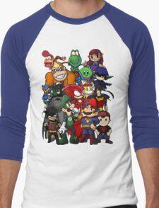 The Justice League of Nintendo and Sidekicks Men's Baseball ¾ T-Shirt