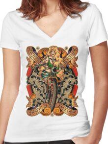 Kustom Kulture Women's Fitted V-Neck T-Shirt