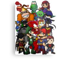 The Justice League of Nintendo and Sidekicks Metal Print