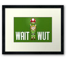 Zelda/Mario - Wait WUT on dark background Framed Print