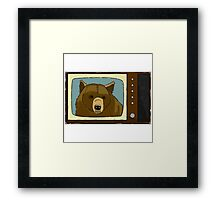 A Bear On TV Framed Print