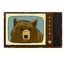A Bear On TV Photographic Print