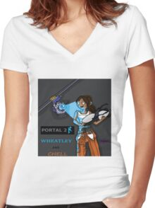 Chell and Wheatley Women's Fitted V-Neck T-Shirt
