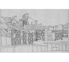 Stone apartment complex drawing Photographic Print