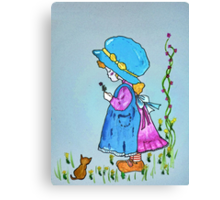 Little girl with flower Canvas Print