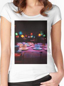 Alice In Wonderland Tea Cups Women's Fitted Scoop T-Shirt