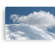 The cross of Monte Catria snow covered Canvas Print