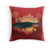 Exuberant Whale - Red Throw Pillow