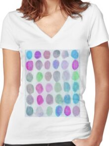 Purple, Blue and Green Spots Women's Fitted V-Neck T-Shirt