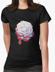 Painted Rose cut out Womens Fitted T-Shirt