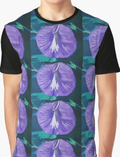 Purple and White Butterfly Pea Flower Graphic T-Shirt