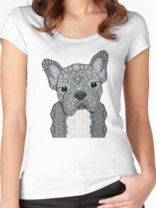 Gray Frenchie 001 Women's Fitted Scoop T-Shirt