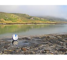 Soccer ball at the sea Photographic Print