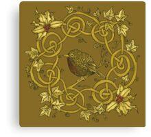 """Robin Wreath"" Gold Holly & Ivy Celtic Seasonal Design Canvas Print"