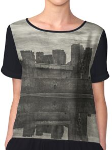 Reflections Of Caerphilly Castle   Chiffon Top