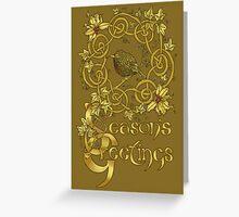 """Robin Wreath"" Gold Holly & Ivy Celtic Seasonal Greetings Card Greeting Card"