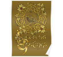 """Robin Wreath"" Gold Holly & Ivy Celtic Seasonal Greetings Card Poster"